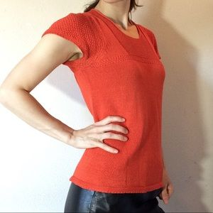 Margaret O'Leary Tops - Margaret O'Leary Orange Short Sleeve Knit Blouse